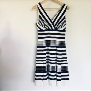 WHBM // black and white striped fit & flare dress